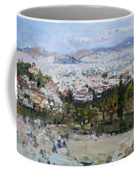 Athens Coffee Mug featuring the painting View Of Athens From Acropolis by Ylli Haruni