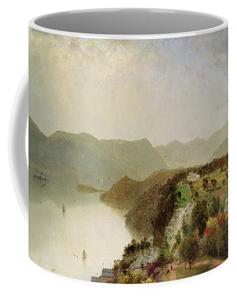 Cozzen Coffee Mug featuring the painting View Of Cozzen's Hotel Near West Point Ny by John Frederick Kensett