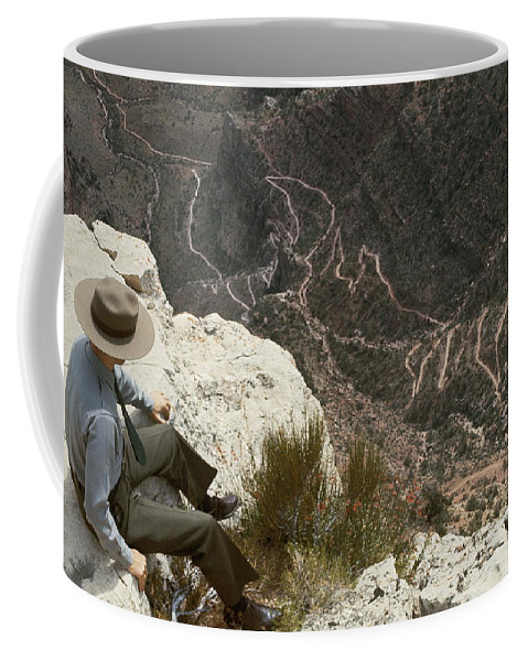 grand Canyon National Park Coffee Mug featuring the photograph View Of Hiking Trails From High Above by Walter Meayers Edwards
