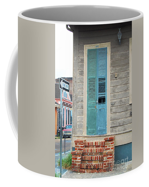 Travelpixpro New Orleans Coffee Mug featuring the digital art Vintage Dual Color Wooden Door And Brick Stoop French Quarter New Orleans Accented Edges Digital Art by Shawn O'Brien
