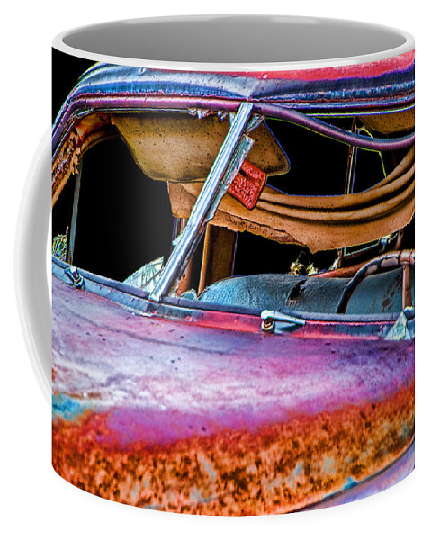 Art Coffee Mug featuring the photograph Vintage Frazer Front Window Auto Wreck by Randall Nyhof