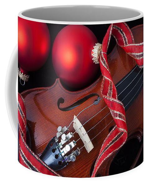 Violin Coffee Mug featuring the photograph Violin And Red Ornaments by Garry Gay