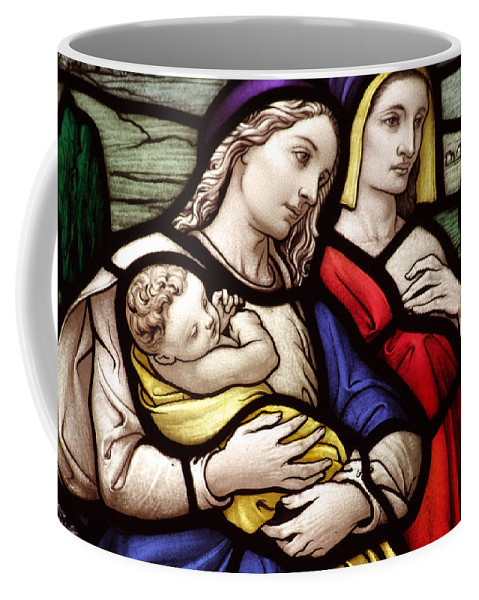 Mary Coffee Mug featuring the photograph Virgin Mary And Baby Jesus Stained Glass by Munir Alawi