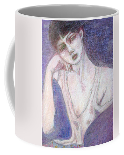 Female Figure Coffee Mug featuring the drawing Waiting For Spring by Diane montana Jansson