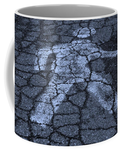 Black And White Coffee Mug featuring the photograph Walking Man In Cyan by Rob Hans