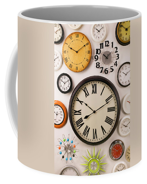 Clock Coffee Mug featuring the photograph Wall Clocks by Garry Gay