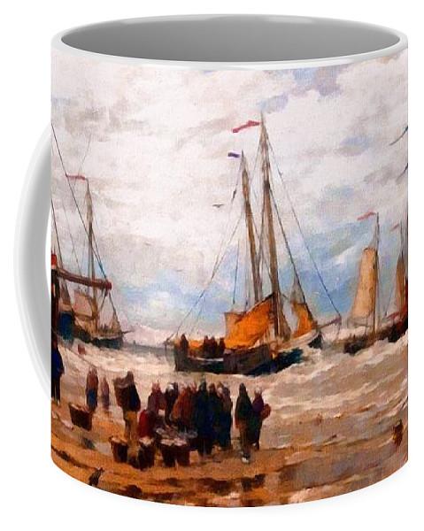 War Coffee Mug featuring the painting War Story by Georgiana Romanovna