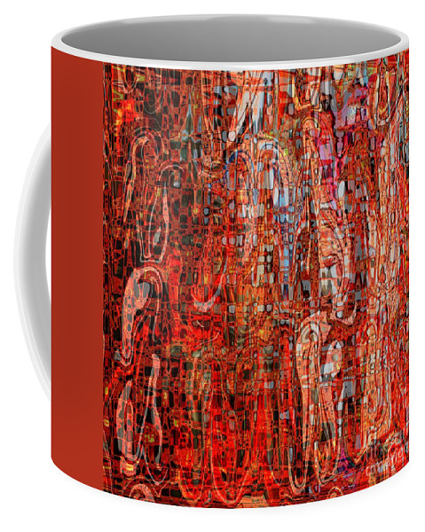 Red Coffee Mug featuring the digital art Warm Meets Cool - Abstract Art by Carol Groenen