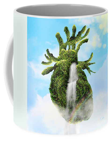 Water From The Heart Coffee Mug featuring the digital art Water From The Heart by Mo T