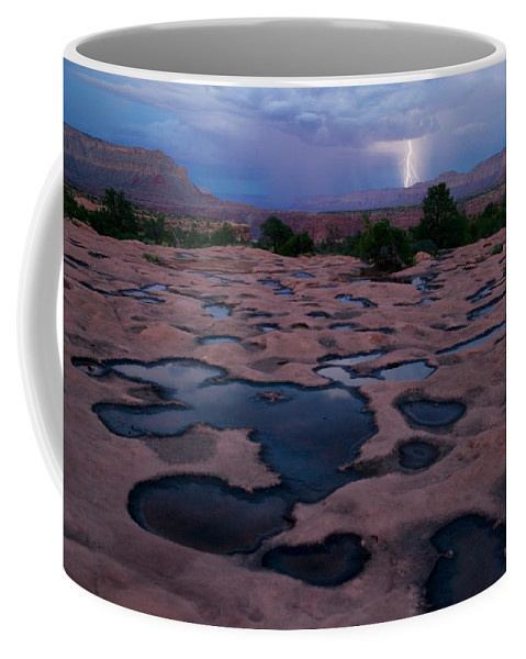 Outdoors Coffee Mug featuring the photograph Water Puddled In The Esplanade, A Rock by Michael Nichols