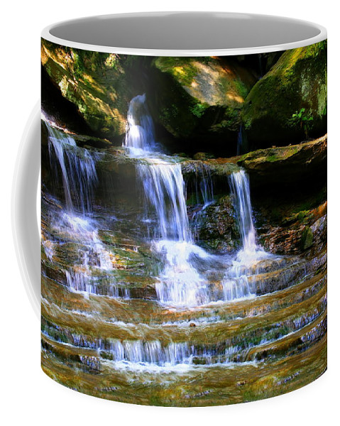 Color Coffee Mug featuring the photograph Waterfall Trio At Mcconnells Mill State Park by Angela Rath