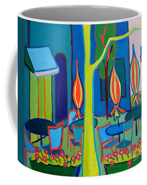 Landscape Coffee Mug featuring the painting Summer Cafe by Debra Bretton Robinson