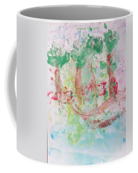 Green Woods Coffee Mug featuring the painting Way Through Woods by Sonali Gangane