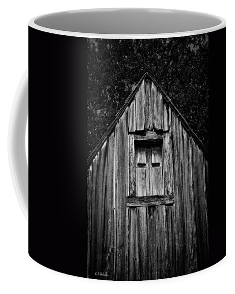 Barn Coffee Mug featuring the photograph Weathered Structure - Bw by Christopher Holmes