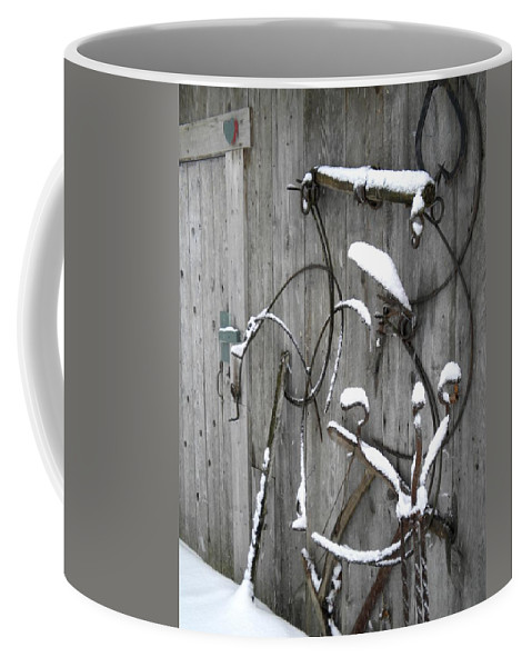 Farm Coffee Mug featuring the painting Weathered Tools by Renate Nadi Wesley