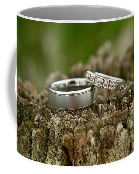 Romance Coffee Mug featuring the photograph Wedding Bands And Fence Post 12 by Douglas Barnett