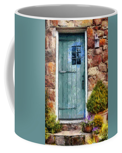 Door Coffee Mug featuring the painting Welcome Home by Lynne Jenkins
