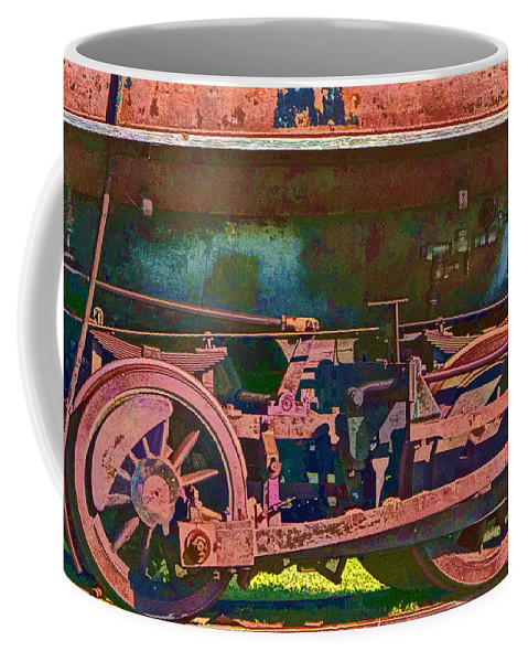 Art Coffee Mug featuring the photograph Wheels Of An Old Vintage Train Engine No.1026 by Randall Nyhof