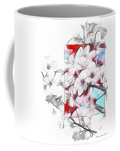 Almond Tree Blossom Drawing Abstract Expressionism Nature Flower Beauty Summer Spring Coffee Mug featuring the drawing When The Almond Trees Are In Blossom by Steve K