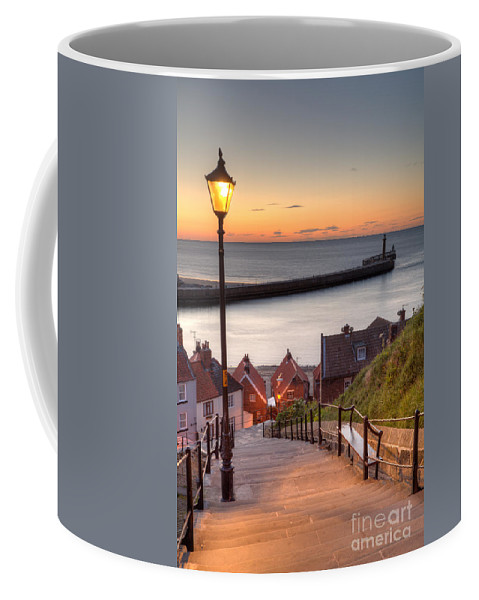 Whitby Coffee Mug featuring the photograph Whitby Steps - Orange Glow by Martin Williams