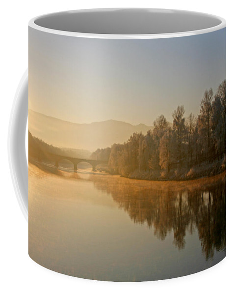 White Coffee Mug featuring the photograph White Frost Landscape 2 by Ralf Kaiser
