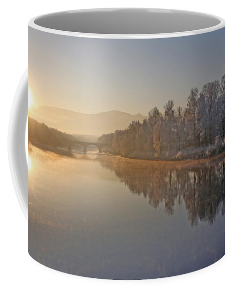 White Coffee Mug featuring the photograph White Frost Landscape by Ralf Kaiser