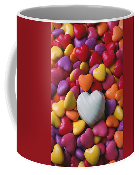 White Heart Candy Candies Love Coffee Mug featuring the photograph White Heart Candy by Garry Gay