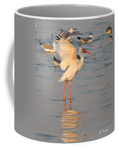 Roena King Coffee Mug featuring the photograph White Ibis With Wings Raised by Roena King