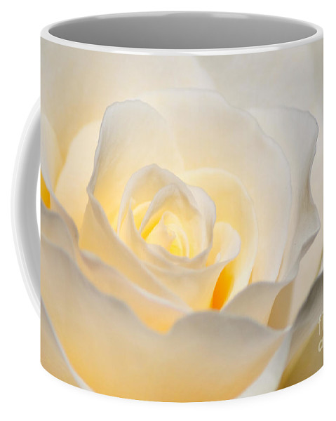 White Coffee Mug featuring the photograph White Rose Blooming by Diego Re