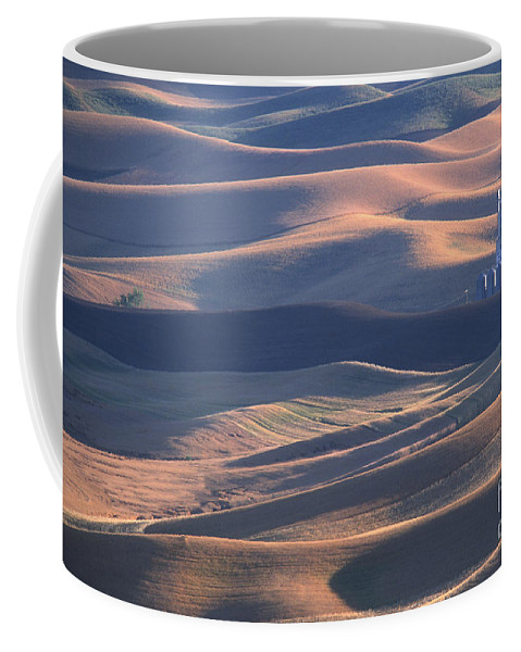 Palouse Coffee Mug featuring the photograph Whitman County Granary At Sunset by Sandra Bronstein