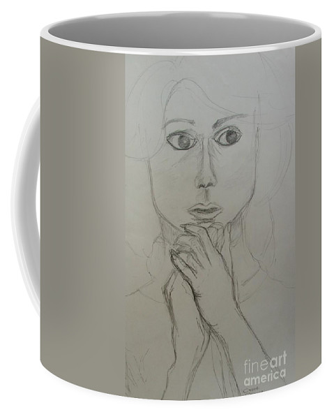 Portrait Coffee Mug featuring the painting Who's There by Caroline Street