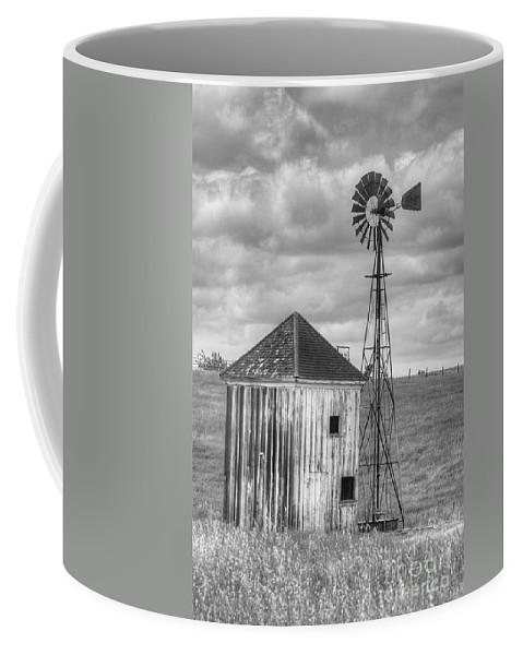 Clouds Coffee Mug featuring the photograph Windmill And Shack by Jim And Emily Bush