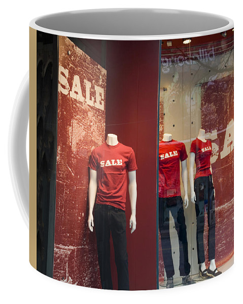 Art Coffee Mug featuring the photograph Window Display Sale With Mannequins No.0112 by Randall Nyhof