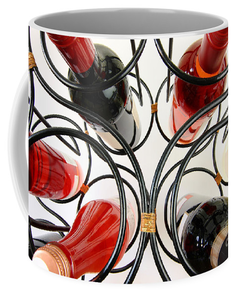 Wine Coffee Mug featuring the photograph Wine Bottles In Curved Wine Rack by Simon Bratt Photography LRPS