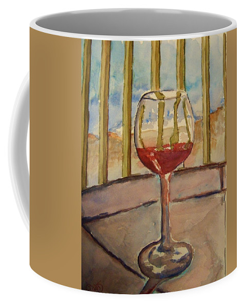 Red Wine Coffee Mug featuring the painting Wine By The Water by Elaine Duras