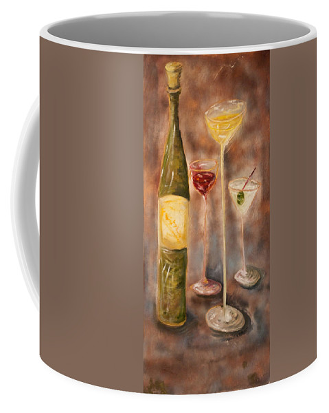 Abstracticle Still Life Coffee Mug featuring the painting Wine Or Martini? by Chuck Gebhardt