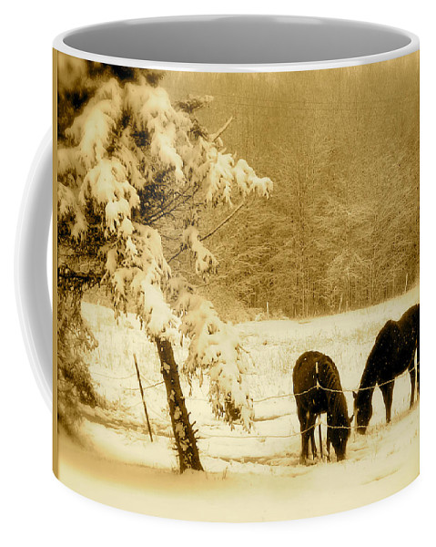 Landscape Coffee Mug featuring the photograph Winter Grazing by Arthur Barnes