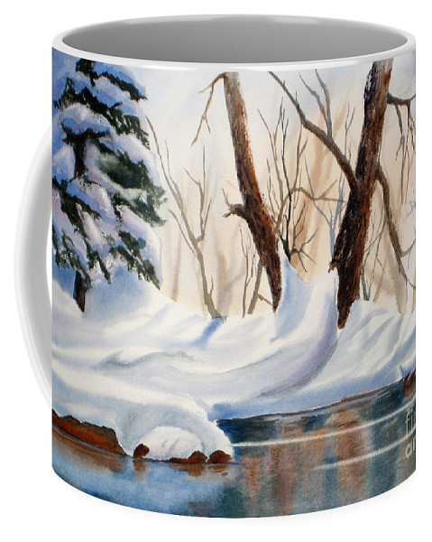 Coffee Mug featuring the painting Winter In The Valley by Mohamed Hirji