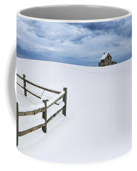 Art Coffee Mug featuring the photograph Winter Landscape Photograph With Prairie Farmhouse And Wooden Fence by Randall Nyhof