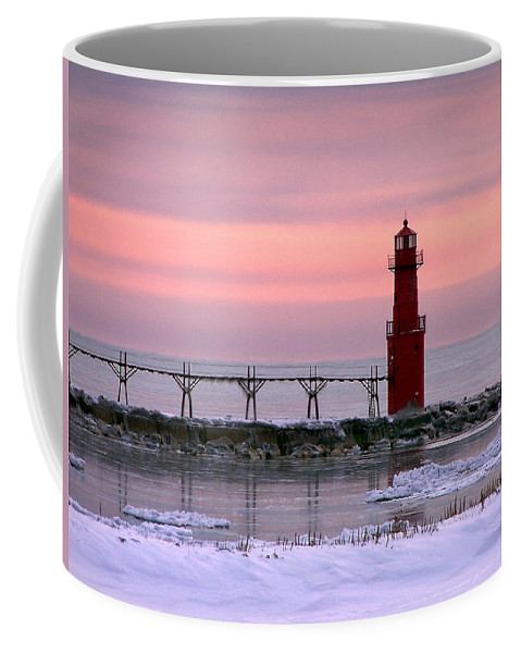 Lighthouse Coffee Mug featuring the photograph Winter Lighthouse by Bill Pevlor