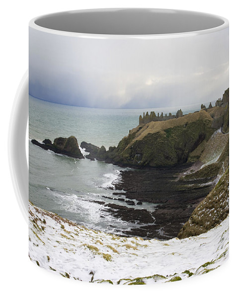 Dunottar Coffee Mug featuring the photograph Winter Storm At Dunottar by Howard Kennedy