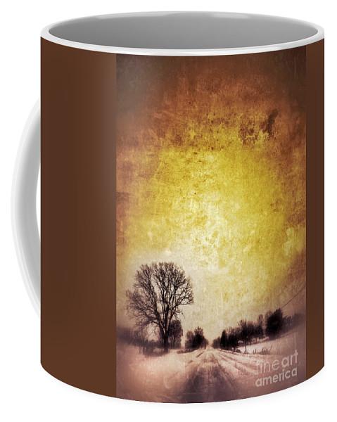 Tree Coffee Mug featuring the photograph Wintery Road Sunrise by Jill Battaglia
