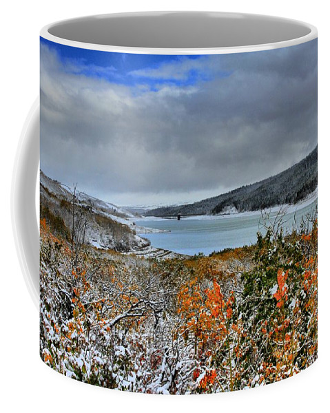 Glacier National Park Coffee Mug featuring the photograph Wintry Dusting by Adam Jewell
