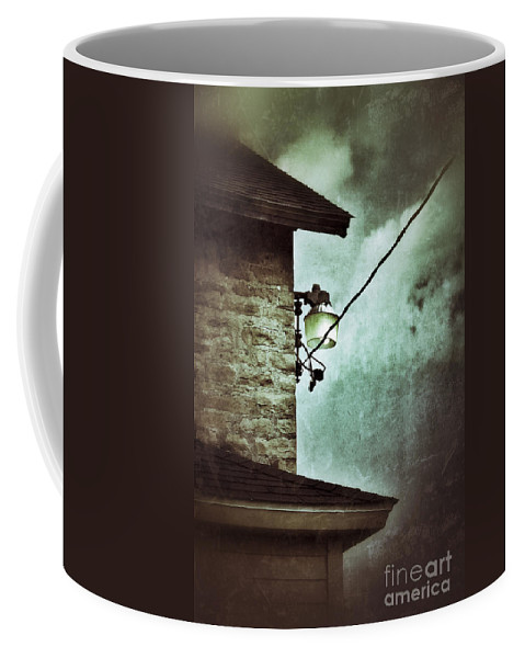 House Coffee Mug featuring the photograph Wires On House In Storm by Jill Battaglia