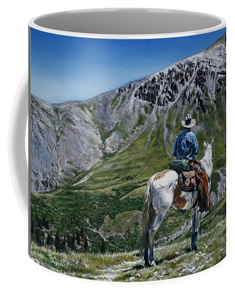 Horse Coffee Mug featuring the painting Wish You Were Here by Rick Unger