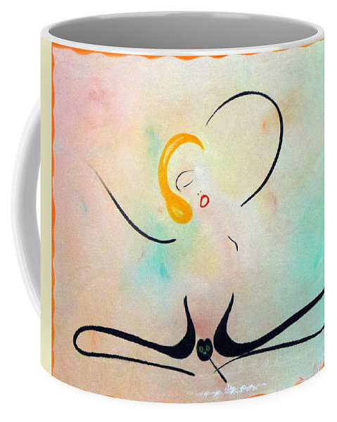 Woman Doing-the-line Blond Colorful Relaxed Sexy Lines Black Coffee Mug featuring the painting Woman Doing The Line by David Mintz