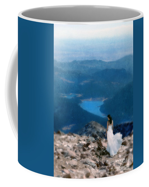 Woman Coffee Mug featuring the photograph Woman In White Gown On Mountain Top by Jill Battaglia