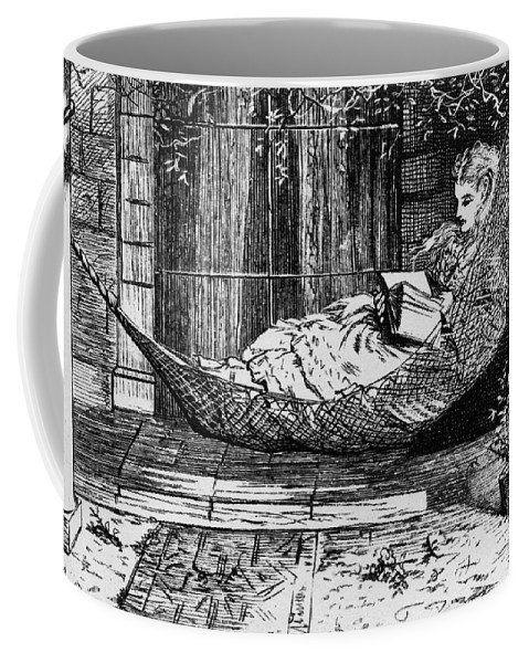 1873 Coffee Mug featuring the photograph Woman Reading, C1873 by Granger