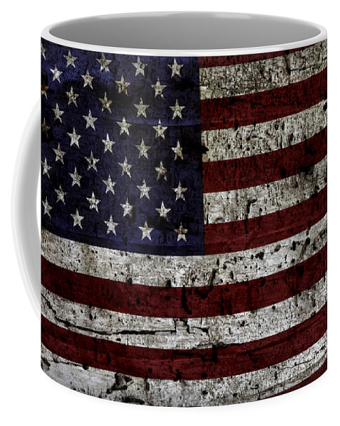 Usa Coffee Mug featuring the photograph Wooden Textured Usa Flag2 by John Stephens