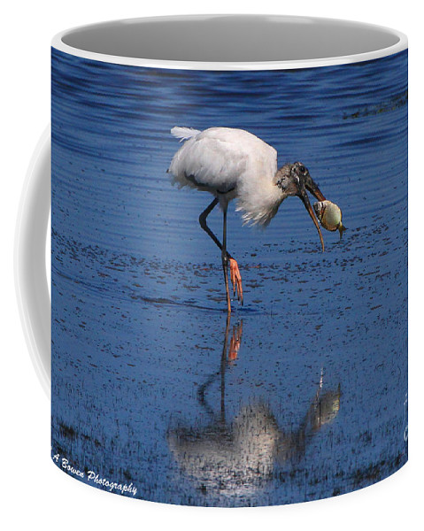 Wood Stork Coffee Mug featuring the photograph Woodstork Catches Fish by Barbara Bowen